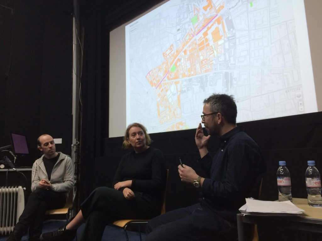 Rachel Lichtenstein and Dr Duncan Hay answering questions at Mapping the Jewish East End.