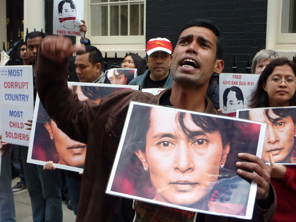 """""""Burma protest for junta to face International Criminal Court"""" by totaloutnow is licensed under CC BY-NC-ND 2.0"""